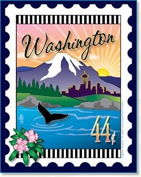 Custom State Stamp Collector Washington 6 x 7