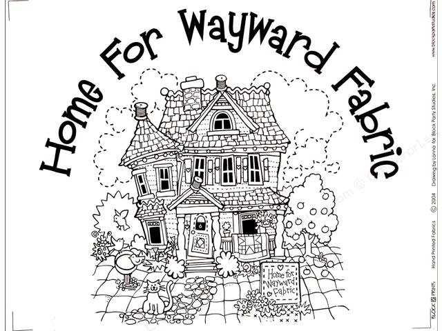 Home for Wayward Fabric Quilt PRE-PRINTED PANEL Black INK on WHITE Block Party Studios
