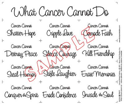 What Cancer Cannot Do BLACK INK on White Quilt PRE-PRINTED PANEL Block Party Studios
