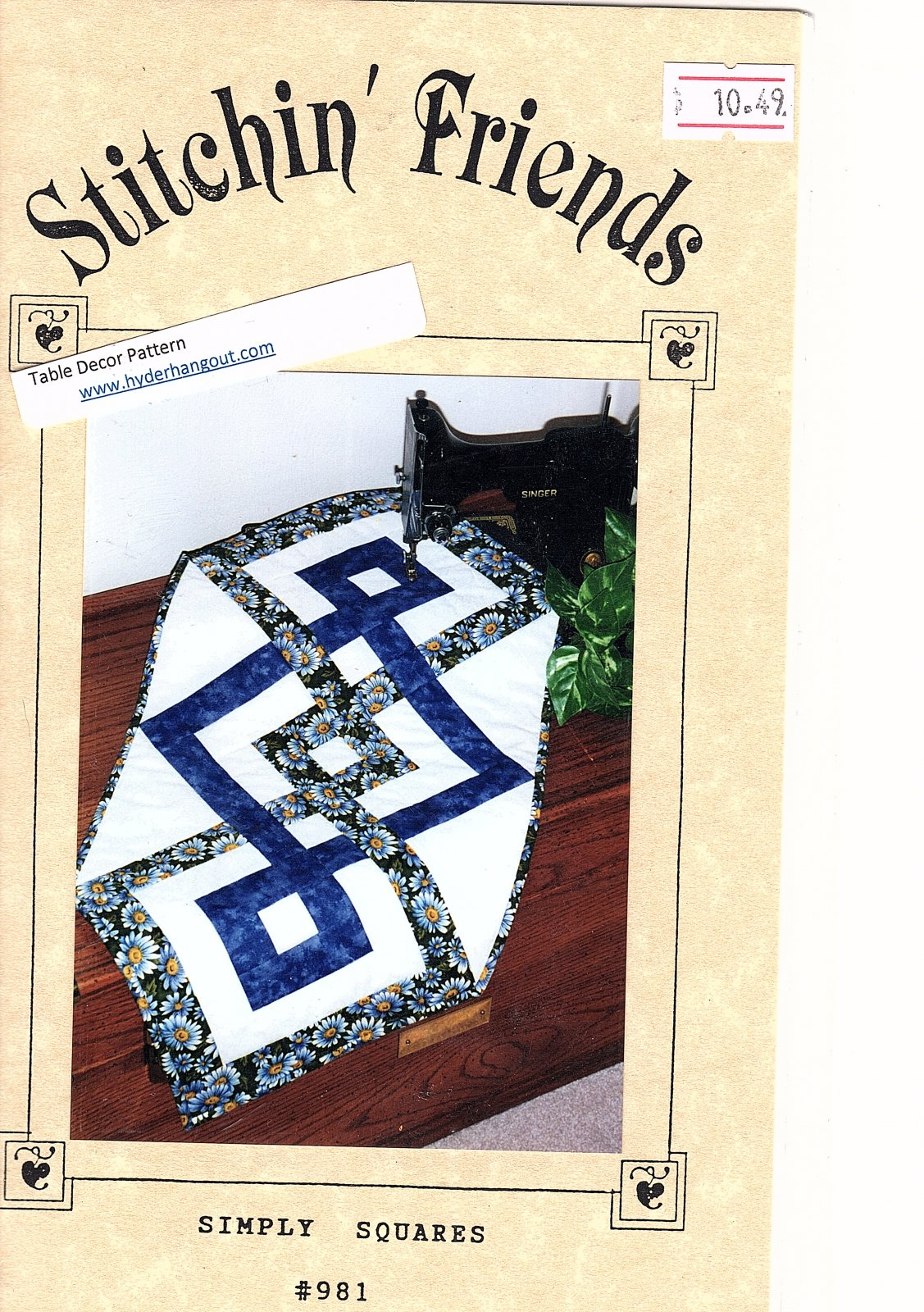 Simply Squares #981 Stitching Friends 15 x 32 Table Runner