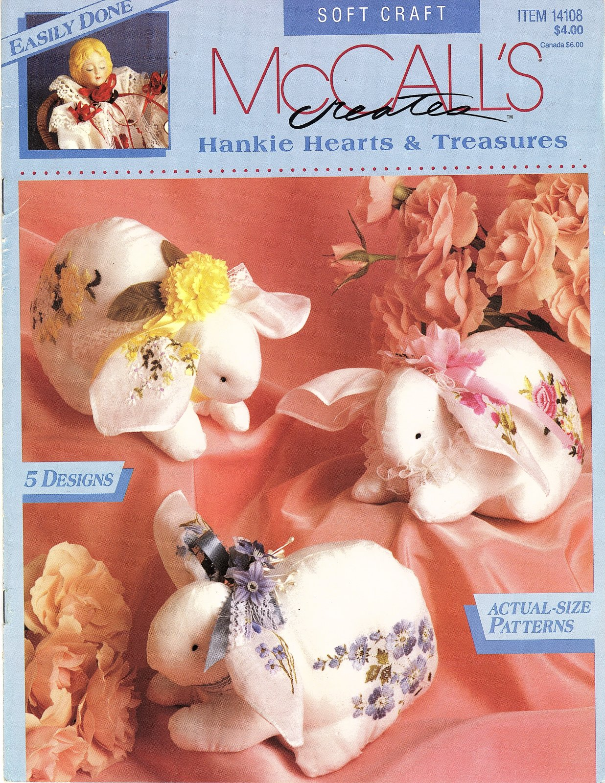Hankie Hearts & Treasures by McCall's Creates - 5 Designs - Actual Size Patterns