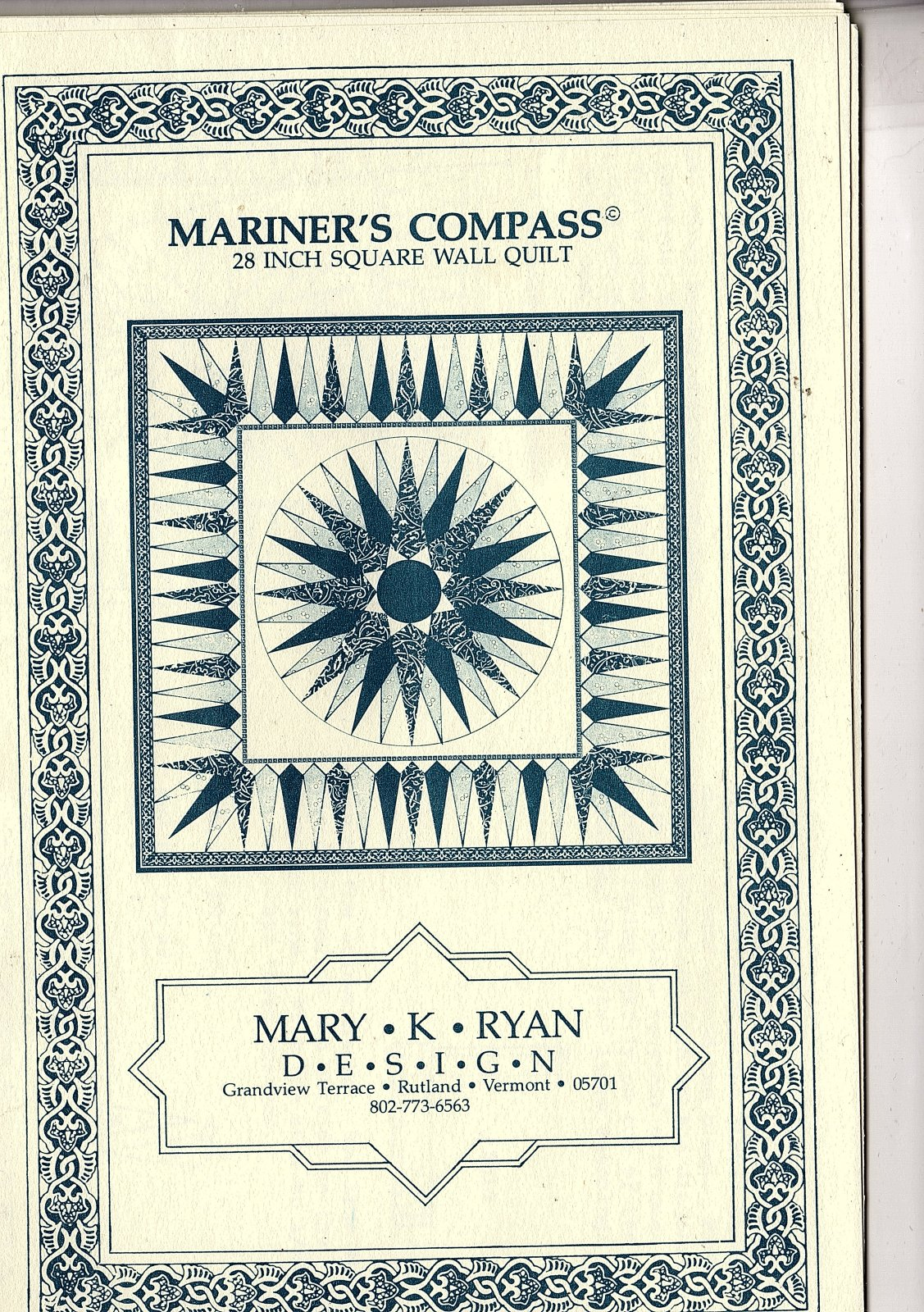 Mariner's Compass - Mary K Ryan Design - 28 square wall quilt