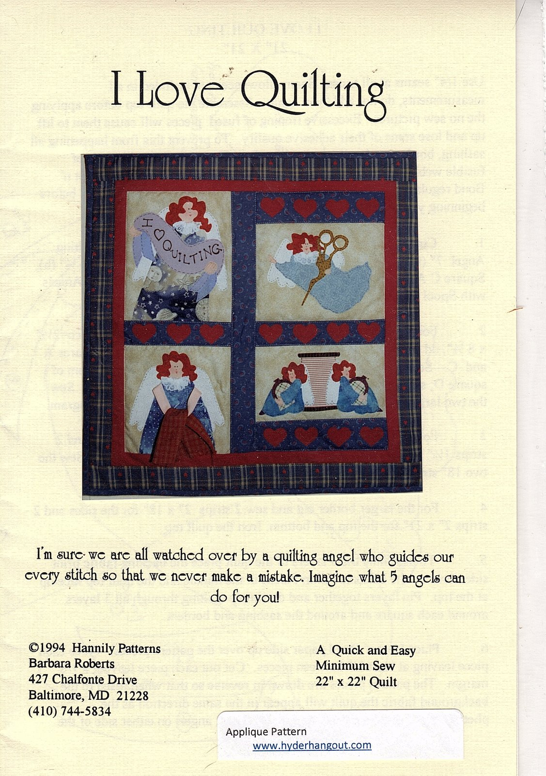 I Love Quilting by Hannily Patterns - A Quick & Easy Sew 22 x 22