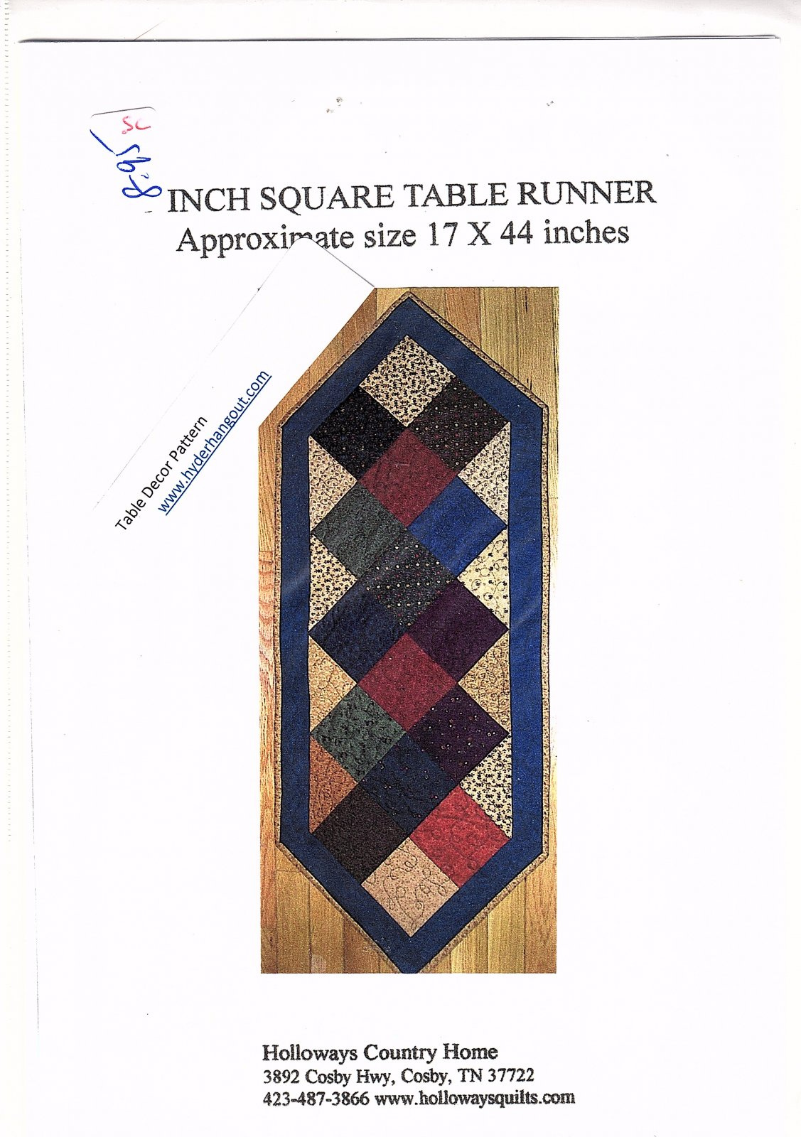 5 Inch Square Table Runner by Holloway's Country Home  17 x 44
