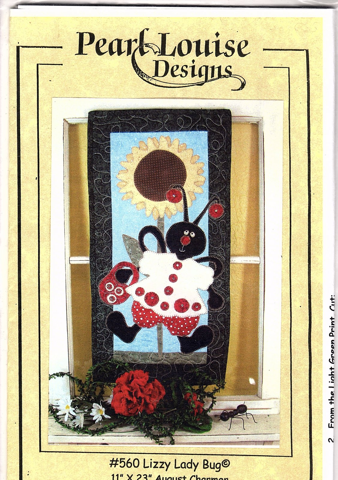 Lizzy Ladybug #560 Pearl Louise Designs - 11 x 23 August Charmer