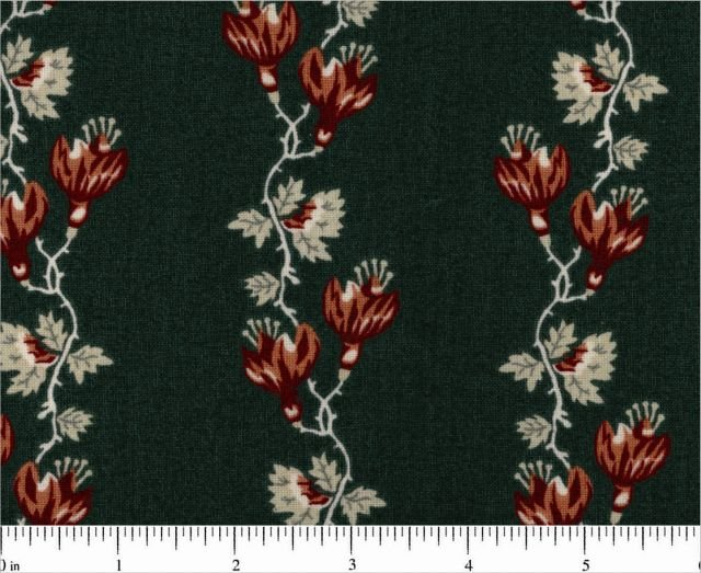 Garden Maze Brown Floral Rows on Dark Teal Licensed to Andover
