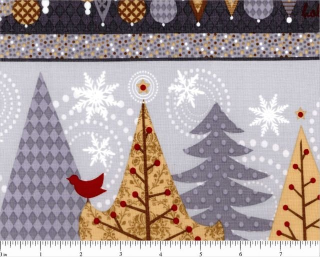 Fabric Panel Advent Calendar Panel 24'' Holiday Sparkle Gray and Gold  Nina Seven Wilmington Prints