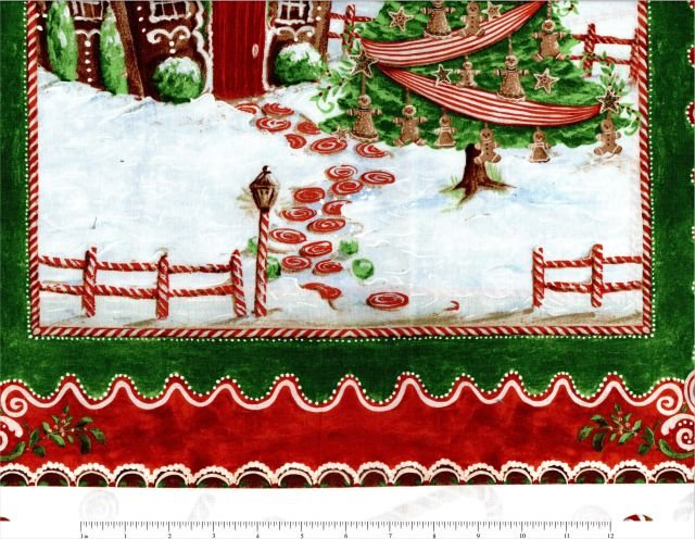 Fabric Cotton Panel Christmas Gingerbread Panel Windham 24 x 42