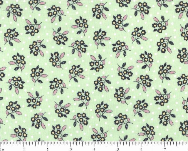 FLOWER TOSS Green 30's style print Michael Miller 44/45 100% Cotton