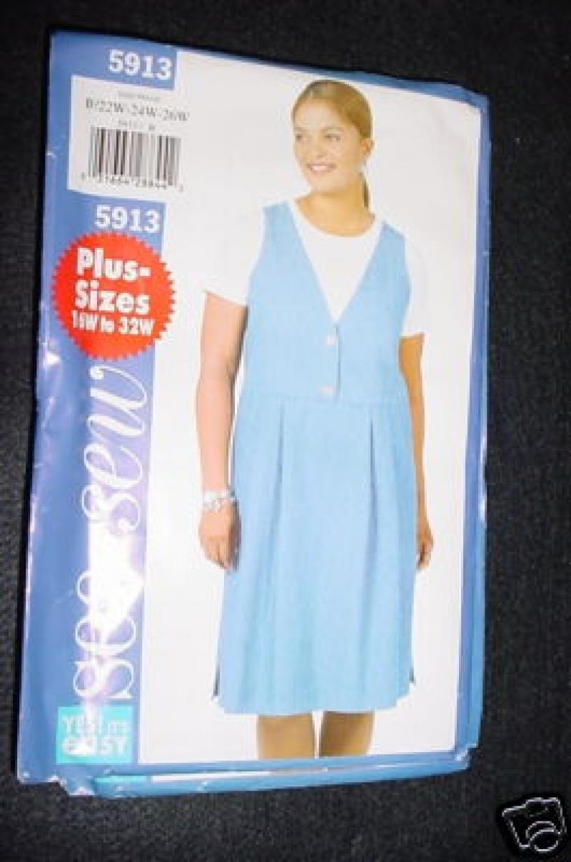Pattern Fashion SEE & SEW PLUS SIZES  PATTERN  BUTTERICK 5913 SIZES 28-30-32