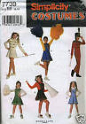 COSTUME PATTERN CHEERLEADER SIMPLICITY 7739 MISSES SIZE AA 7-8-10