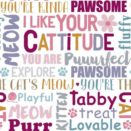 Cattitude Words by Studio-e Fabrics, 4066-12