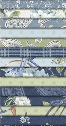 Bohemian Blue by Lisa Audit for Wilmington Prints-40 Karat Crystals-840-677-840, 40-2 1/2x 44 strips Squares, 42 per pack