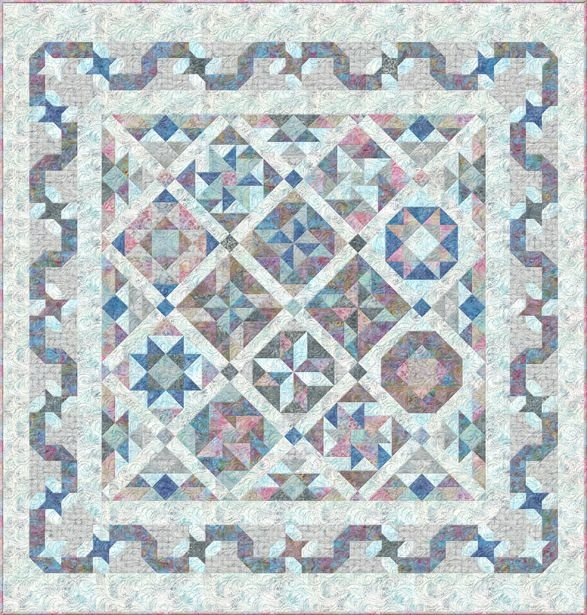 Ribbon Candy Block of the Month By Wilmington Prints- 90 1/2 x 94 1/2 Queen Sized Quilt Kit