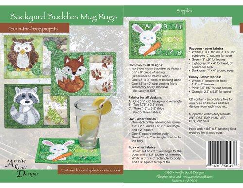 Backyard Buddies Mug Rugs by Amelie Scott Designs -616913540412
