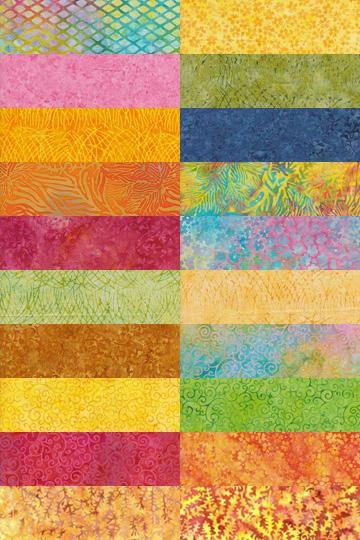 Batik Cotton Strip Tease Pack 40pc by Island Batik Inc. Frosting-SP