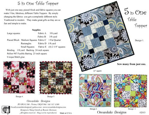 5 in One Table Topper Pattern - OL2013