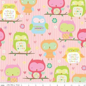 Owl & Co by Riley Blake F4940 pink flannel
