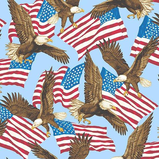 Patriotic 2017 by Andover 8466 B light blue eagle
