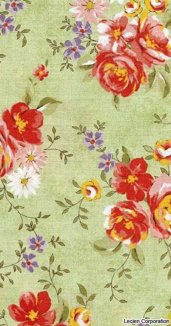 Quilters First by Lecien Green Floral - 30496-60