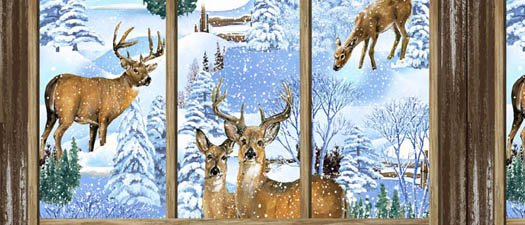 Snowy Christmas panel by Exclusively Quilters 61460 2GL