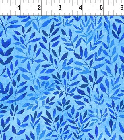 1 7/8 Yard End of Bolt Floral Menagerie-Leaves-Blue - copy