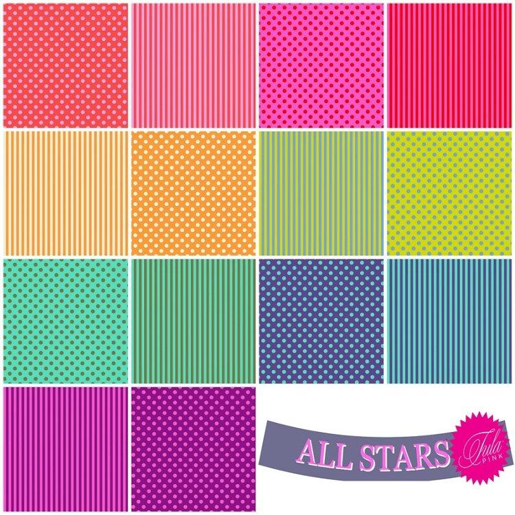 Tula Pink's All Stars 46 pc Fat Quarter Bundle - Dots, Stripes, Solids