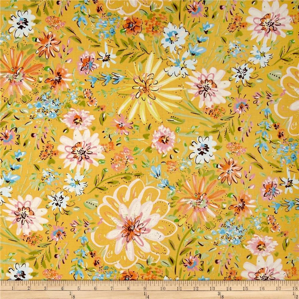 1 3/4 Yd End of Bolt Free Spirit Dena Designs Butterfly Garden Yellow