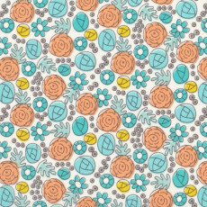 End of Bolt - 1 2/3 yards Cloud 9 Grey Abbey - Floral Whimsy Egg Blue