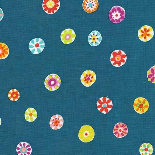 Michael Miller Melodies Folk Floral Dot Teal DC6867