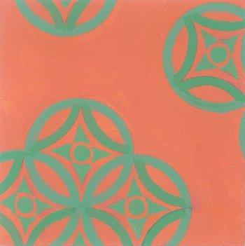 Frond Medallions - Chartreuse -Coral