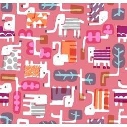 Cotton and Steel - Safari - Elephant Walk - Coral - MS100CO2
