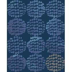Snow Flowers - Hydrangea - Indigo Fabric - OE204-IN2