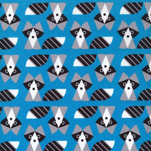 2 Yards End of Bolt Cloud 9 Grey Picture Pie Racoons Blue