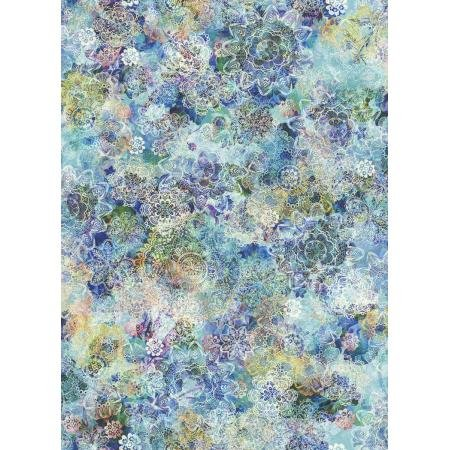 RJR Arcadia - Crochet Blossoms Aquamarine Digiprint Fabric - RJ806AQ1D