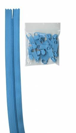 Parrot Blue 4 yds of 16mm #4.5 zipper chain with 16 pulls