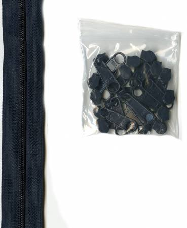 Navy 4 yds of 16mm #4.5 zipper chain with 16 pulls