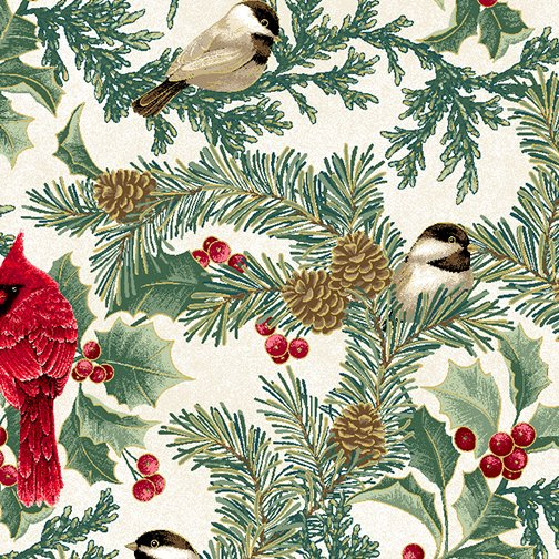 Winter Elegance - Cardinal Elegance on Natural 12343M-09
