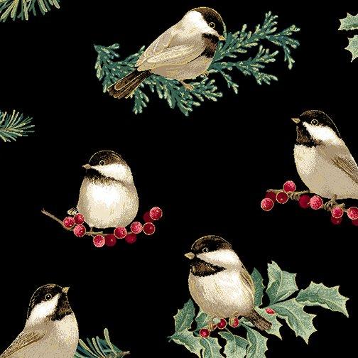 Winter Elegance - Winter Chickadees on Black 12344M-12