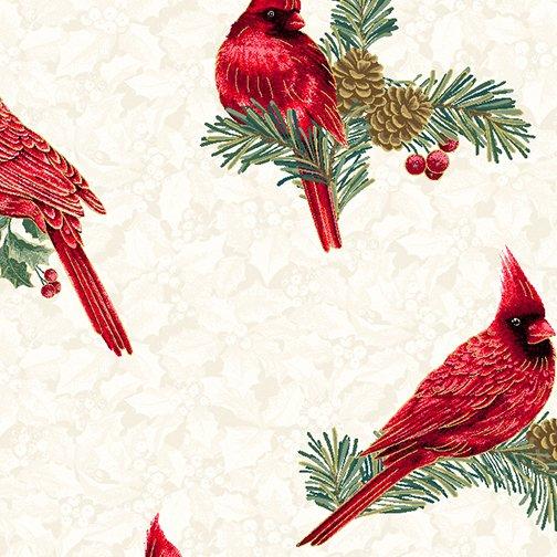Winter Elegance - Winter Cardinals on Natural 12345M-09