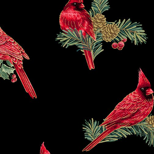 Winter Elegance - Winter Cardinals on Black 12345M-12