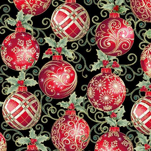 Winter Elegance - Elegant Ornaments on Black 12346M-12