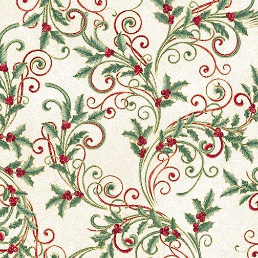 Winter Elegance - Winter Leaf Scroll on Natural 12347M-09