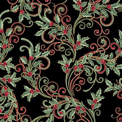 Winter Elegance - Winter Leaf Scroll on Black 12347M-12