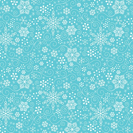 Mulberry Lane Snowflake - Dk Turq by Cherry Guidry for Benartex