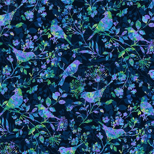 Feather & Flora 4492-77 by Elizabeth Isles Birds and Wildflowers on Midnight