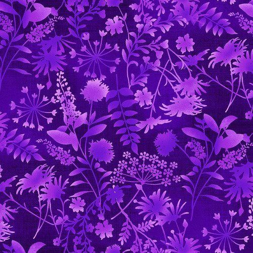 Feather & Flora 4493-58 by Elizabeth Isles Wildflower Toss on Eggplant