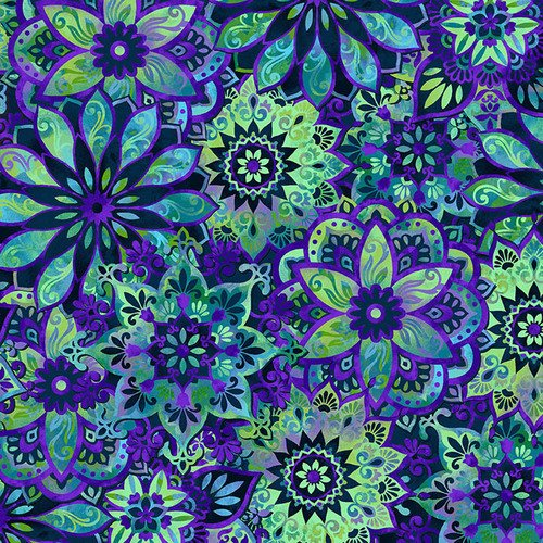 Feather & Flora 4498-77 by Elizabeth Isles Medallion on Midnight