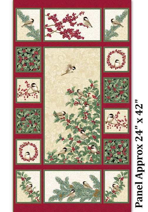 Chickadee & Berries Panel - Red Vanilla