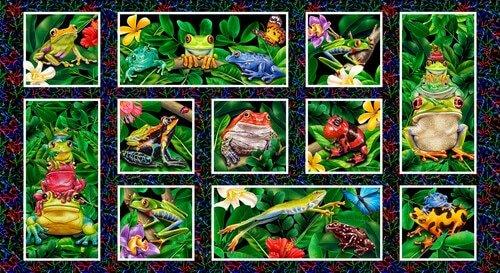 Jewels of the Jungle - Frog Blocks on Black 5566-99